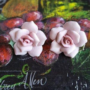 Hand Made Porcelain Rose Earrings